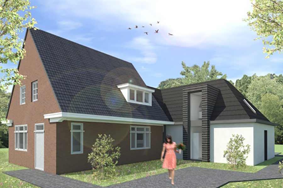 Illustratie van een toekomstige woning met bijgebouw