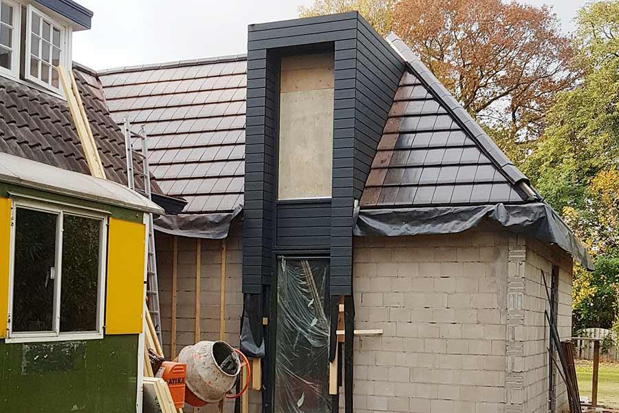 Detail van een garage tijdens een aanbouw in Sint Michielsgestel